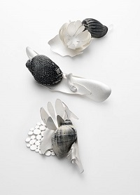 Gathering Shadows, 2008 Brooches – Sterling Silver, Sterling Silver Blackened, Shell, Bone
