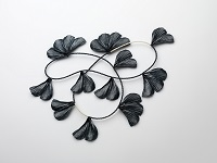 Midnight and midday and midnight, 2012 Neckpiece – Sterling Silver blackened, antique glass beads