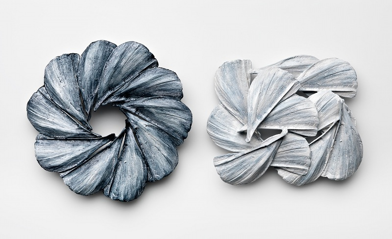 Midnight and midday and midnight, 2013 Brooches – Sterling Silver, porcelain paint
